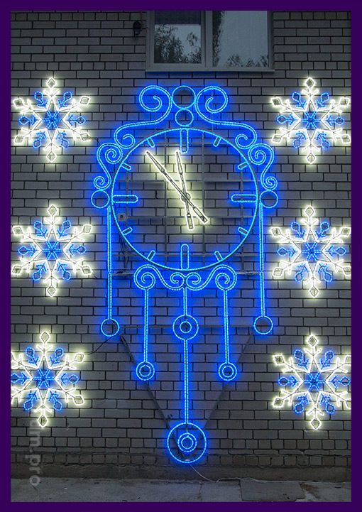 Светодиодные украшения - световые консоли часы из дюралайта