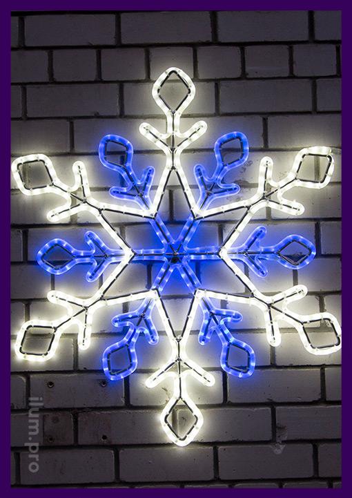 Снежинка светодиодная из металла и гирлянд