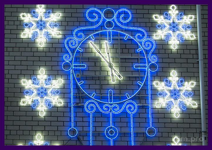 Часы из светодиодного дюралайта на металлическом каркасе на Новый год
