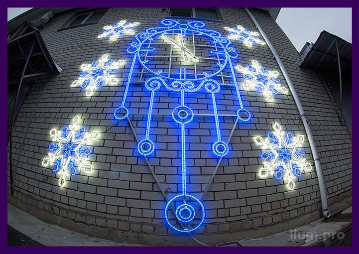 Настенная светодиодная консоль часы со снежинками из дюралайта