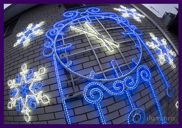 Часы светодиодная консоль из гирлянд со снежинками