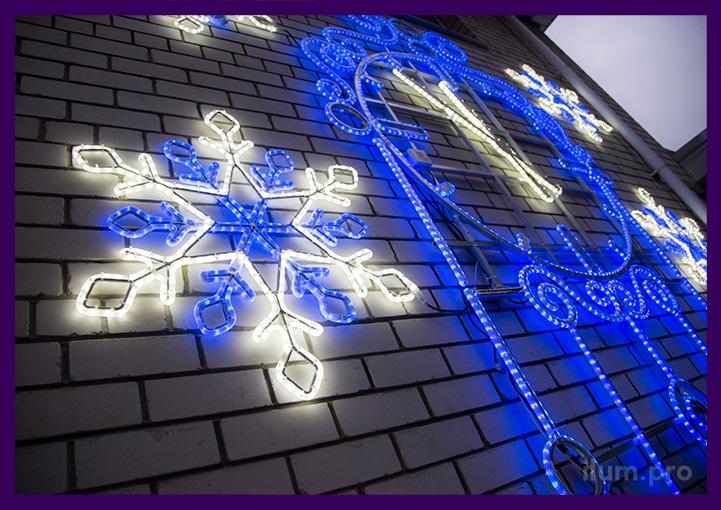Светодиодная консоль из синего дюралайта со снежинками