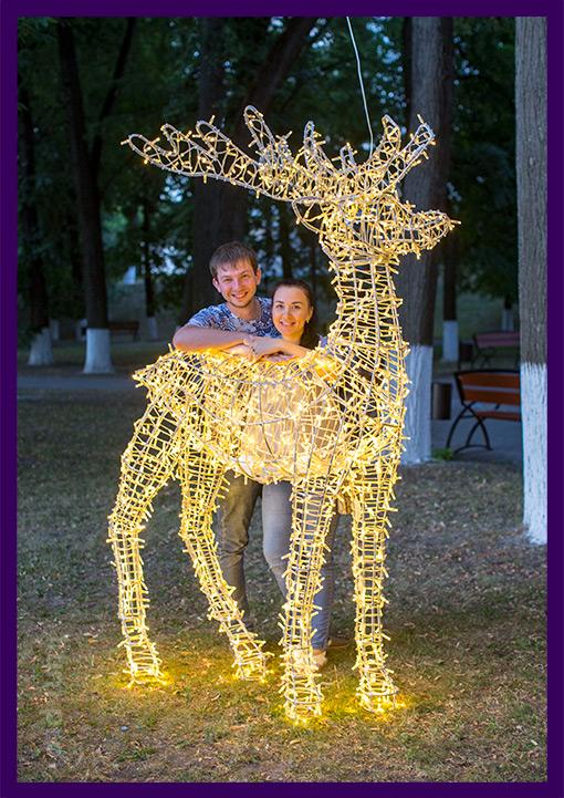 Люди фотографируются с оленем светодиодным в парке