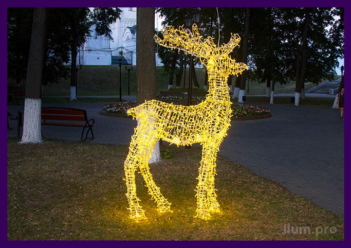 Олень светодиодный в парке