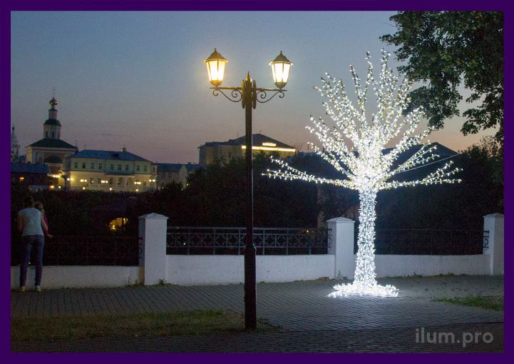 Дерево с подсветкой в парке на празднкии