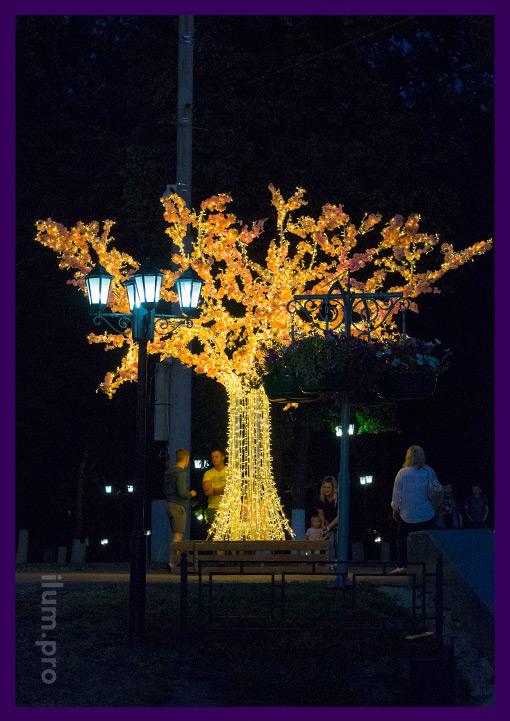 Сакура светодиодная - иллюминация на Соборной площади г. Владимир