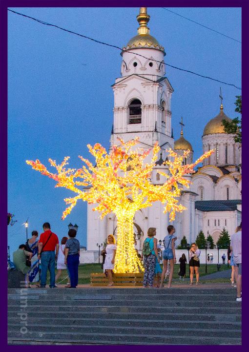 Светящееся дерево в парке города Владимир на праздники