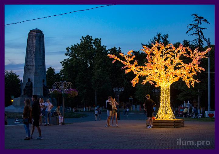 Декоративная световая фигура с лавочкой и подсветкой иллюминацией