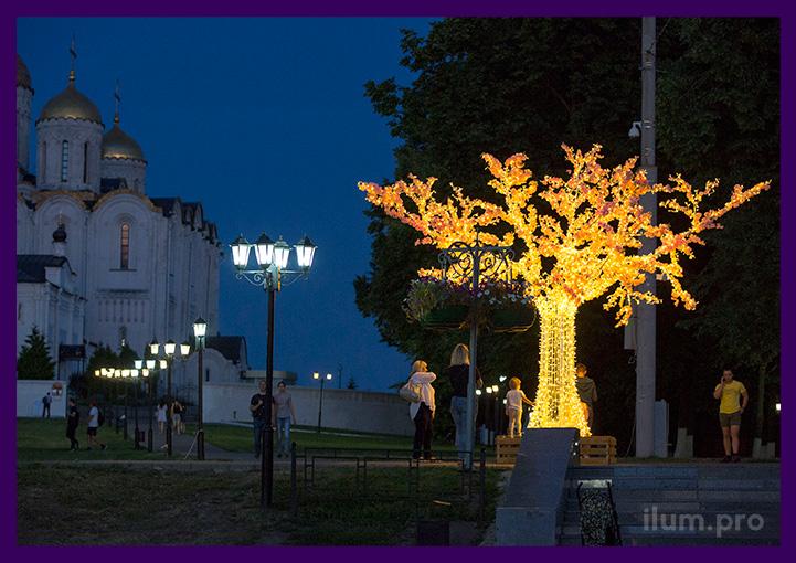 Дерево светодиодное уличное для украшения территории