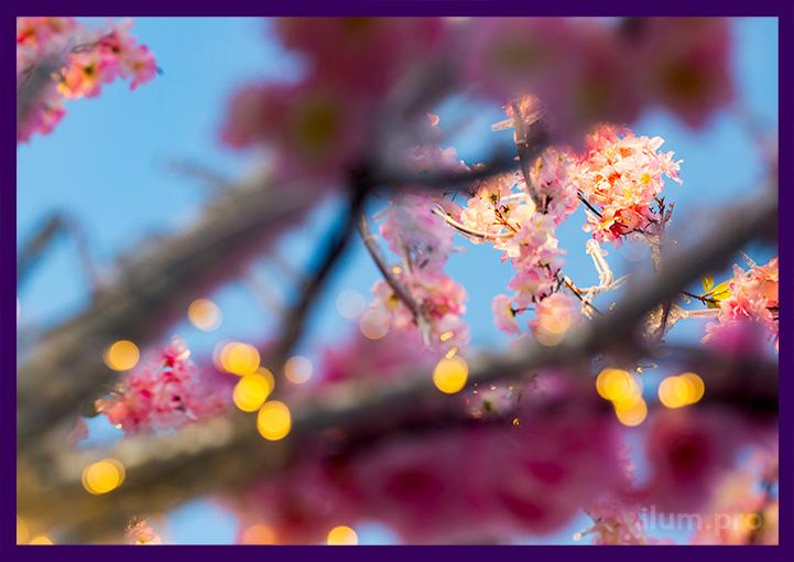 Ветки светодиодного дерева с гирляндами, розовыми цветами и искусственной зеленью