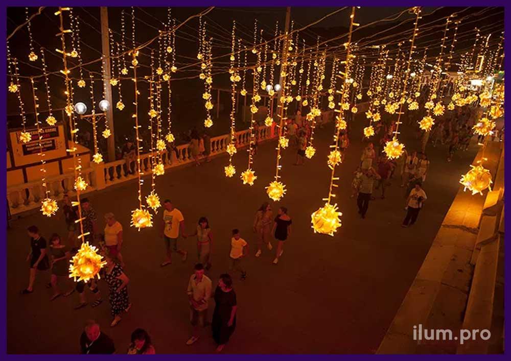 """Подсветка иллюминацией набережной гостинично-развлекательного комплекса """"Альбатрос"""""""