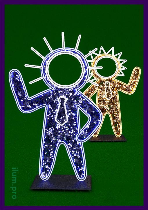 Две фигуры инопланетян - фотозона с подсветкой иллюминацией