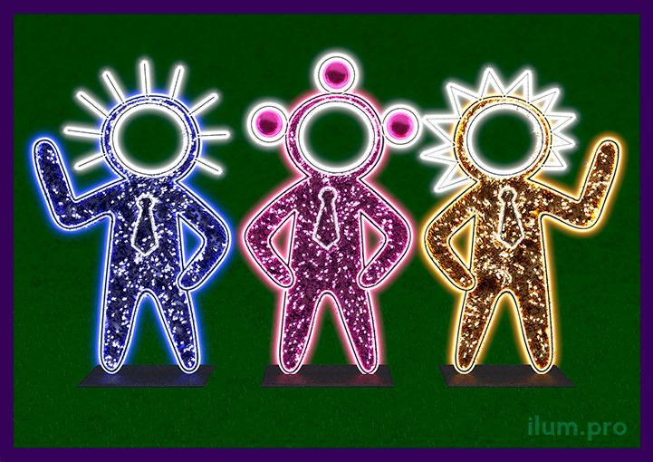 Три светящиеся фигурки инопланетян с гирляндами и дюралайтом