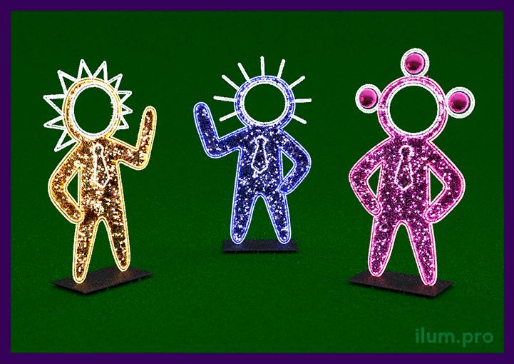 Световые фигурки человечков с отверстиями для головы и гирляндами