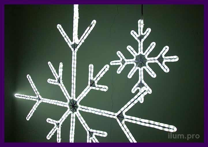 Новогодние светодиодные снежинки из матового дюралайта белого цвета