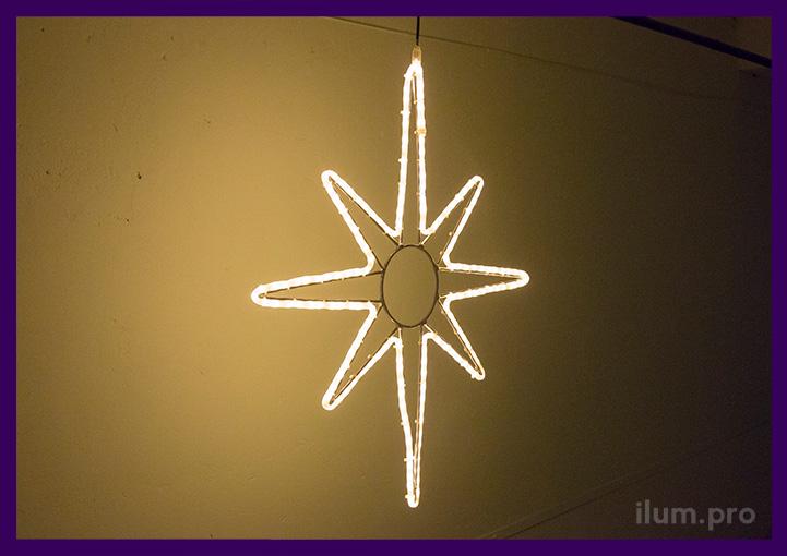 Световая контурная фигура звезда из алюминия и гирлянд