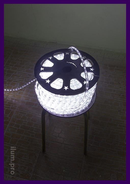 Прозрачный LED дюралайт белого цвета в бабине 100 м