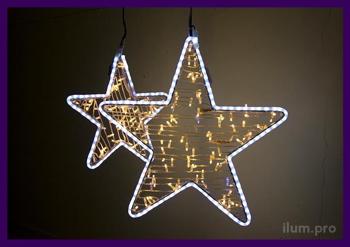 Световые звёзды из дюралайта и гирлянд