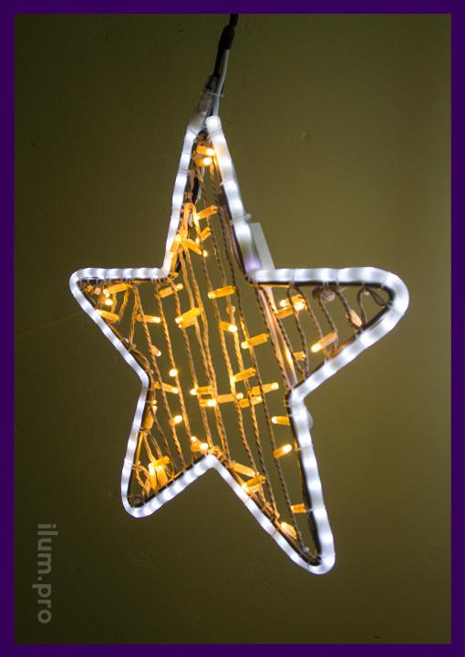 Светодиодные звёзды из дюралайта и гитей тёпло-белого цвета
