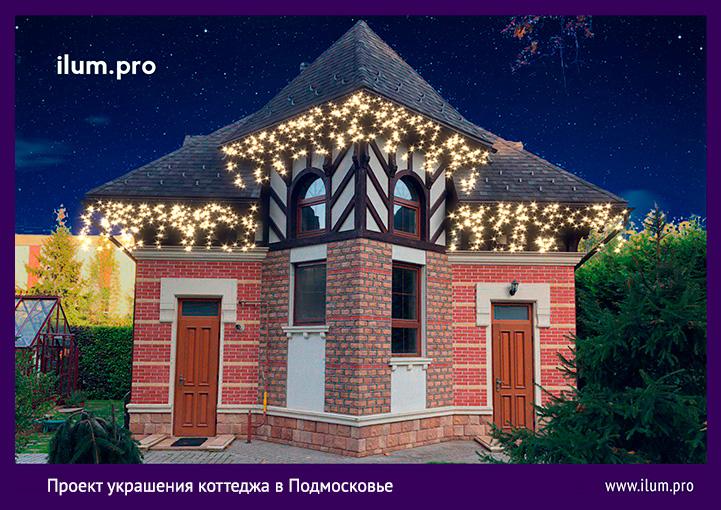 Концепция подсветки крыши гаража светодиодной бахромой