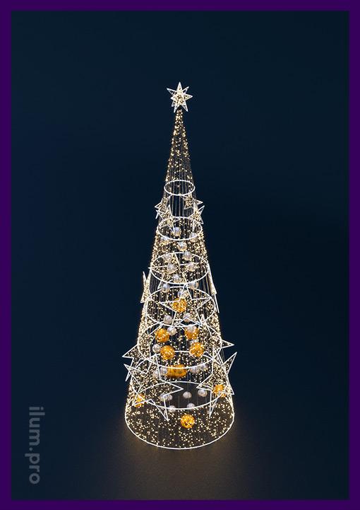 Новогодняя ёлка из гирлянд для украшения улицы и интерьера