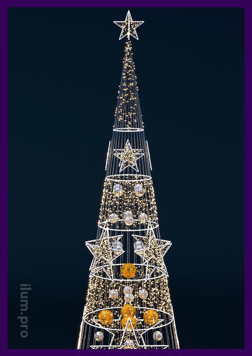 Новогодняя световая фигура со звёздами из гирлянд