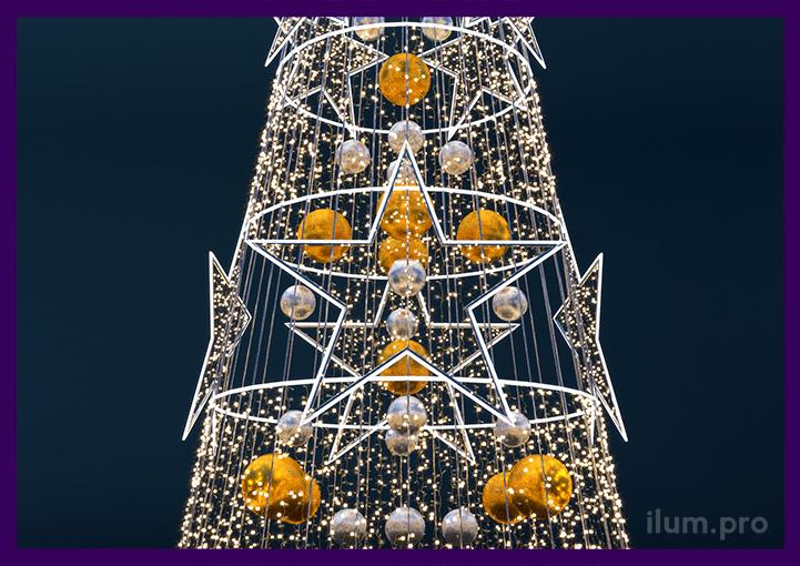Светодиодные звёзды на ёлке в форме конуса