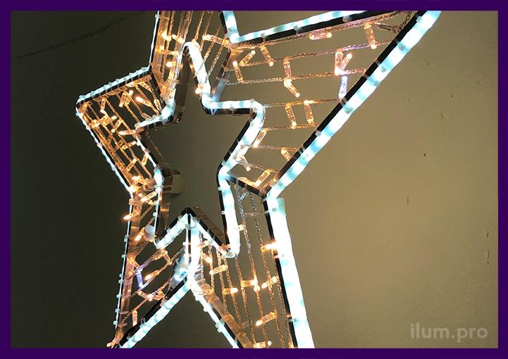 Тёпло-белая светодиодная звезда пятиконечная от производителя