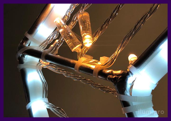 Светодиоды с аквастопором на прозрачном проводе