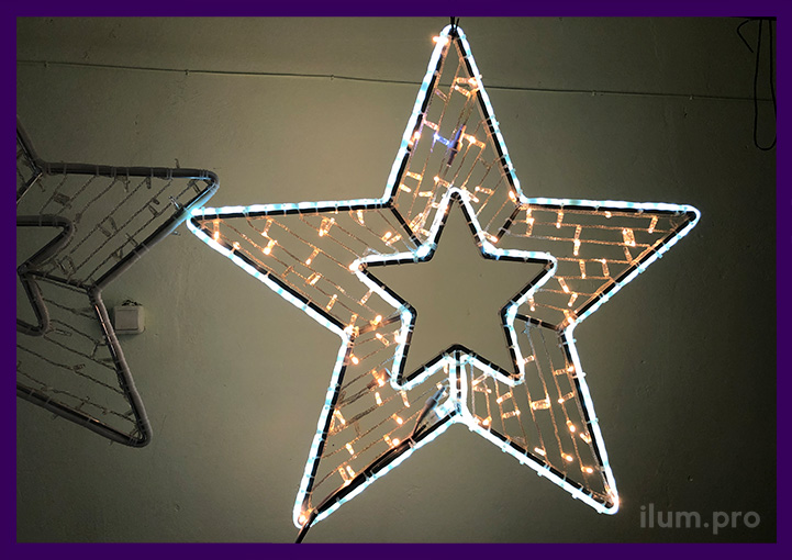 Уличные светодиодные звёзды для украшения города на Новый год