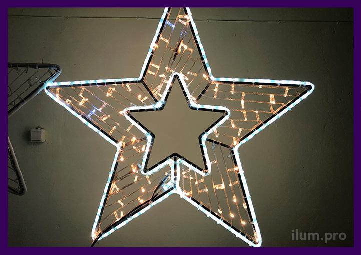 Световая пятиконечная звезда с гирляндами
