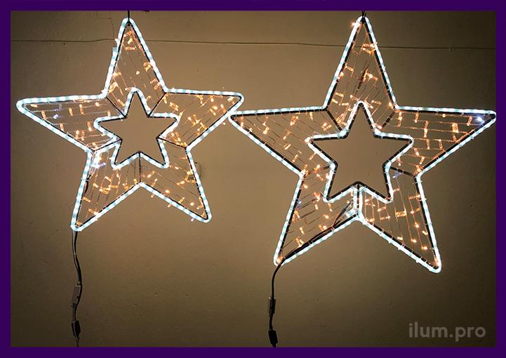 Звёзды - светодиодные мотивы из гирлянд и дюралайта