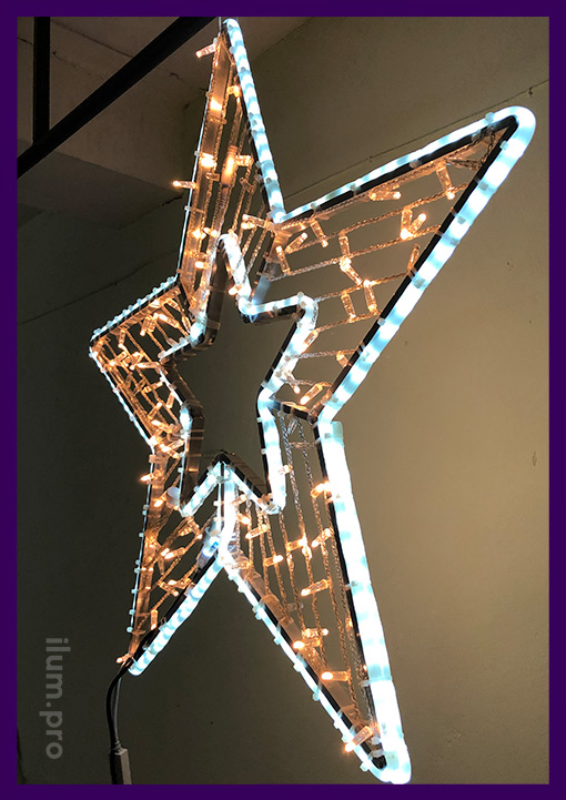 Led decoration for the shopping center in the form of a five-pointed star with garlands