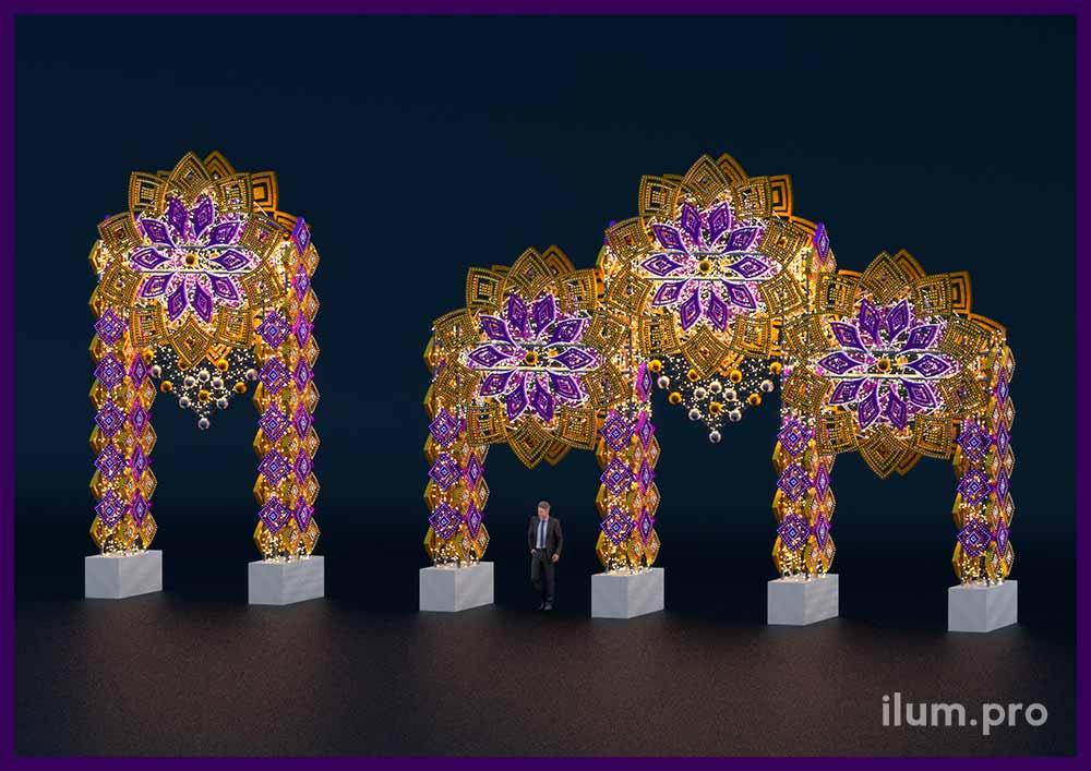 Большие светящиеся арки для украшения города на Новый год