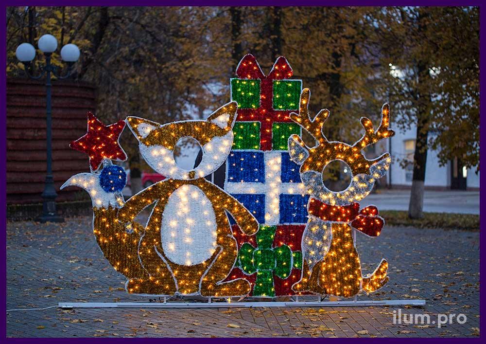 Новогодние светодиодные фотозоны в форме тантамаресок и гирлянд