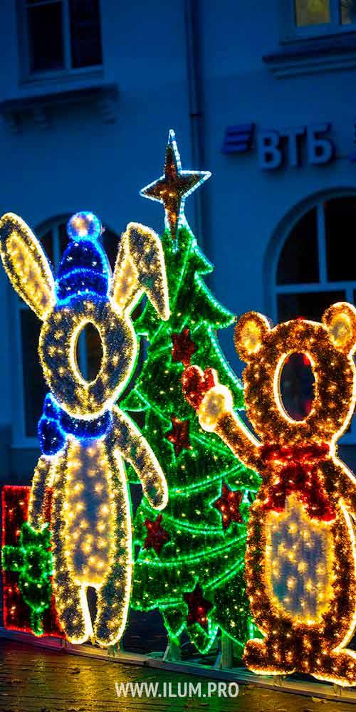 Новогодняя фотозона с подсветкой гирляндами