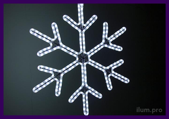 Шестилучевая светодиодная снежинка с дюралайтом