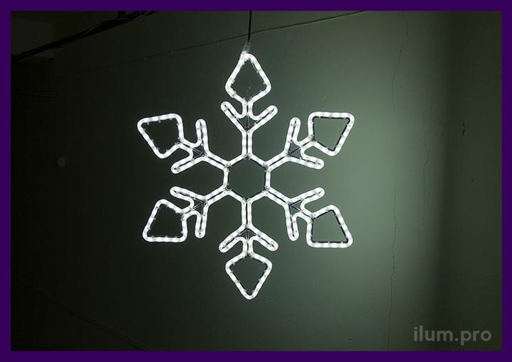 Контурная новогодняя снежинка из дюралайта