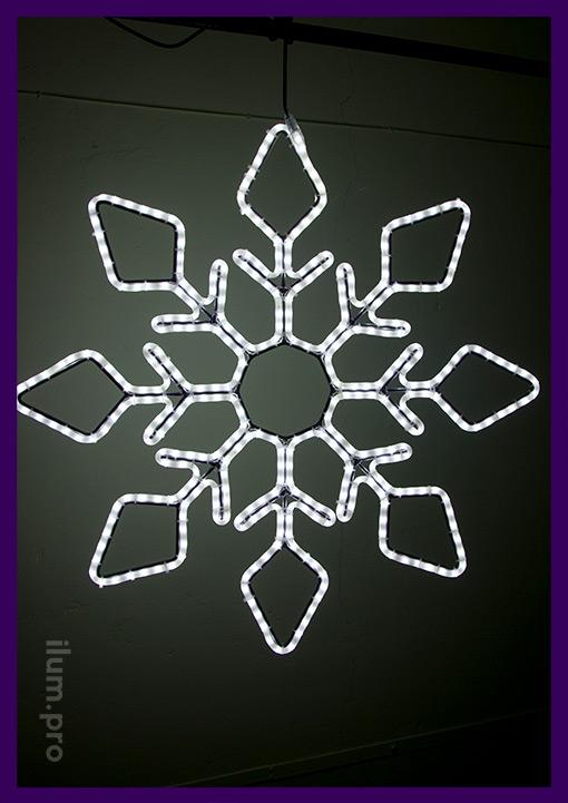Большая белая снежинка из светового шнура