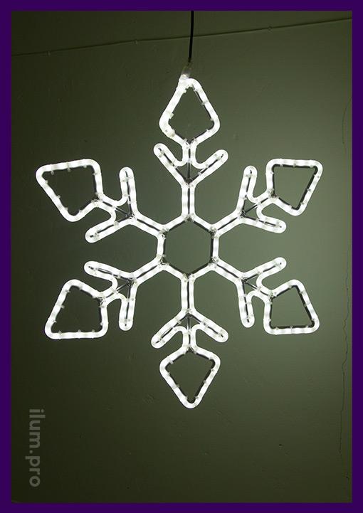 Новогодняя светодиодная снежинка из дюралайта
