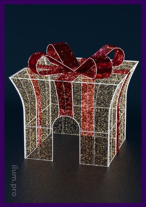 Световые украшения для города в форме подарочной коробки с бантом