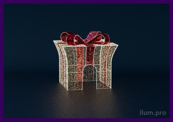 Подарок светодиодный из гирлянд и мишуры на каркасе в форме подарка