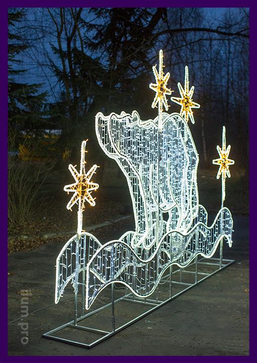 Медведь светодиодный из гирлянд для украшения площади на Новый год