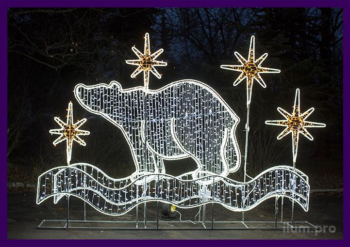 Уличный светодиодный медведь в снегу со звёздами