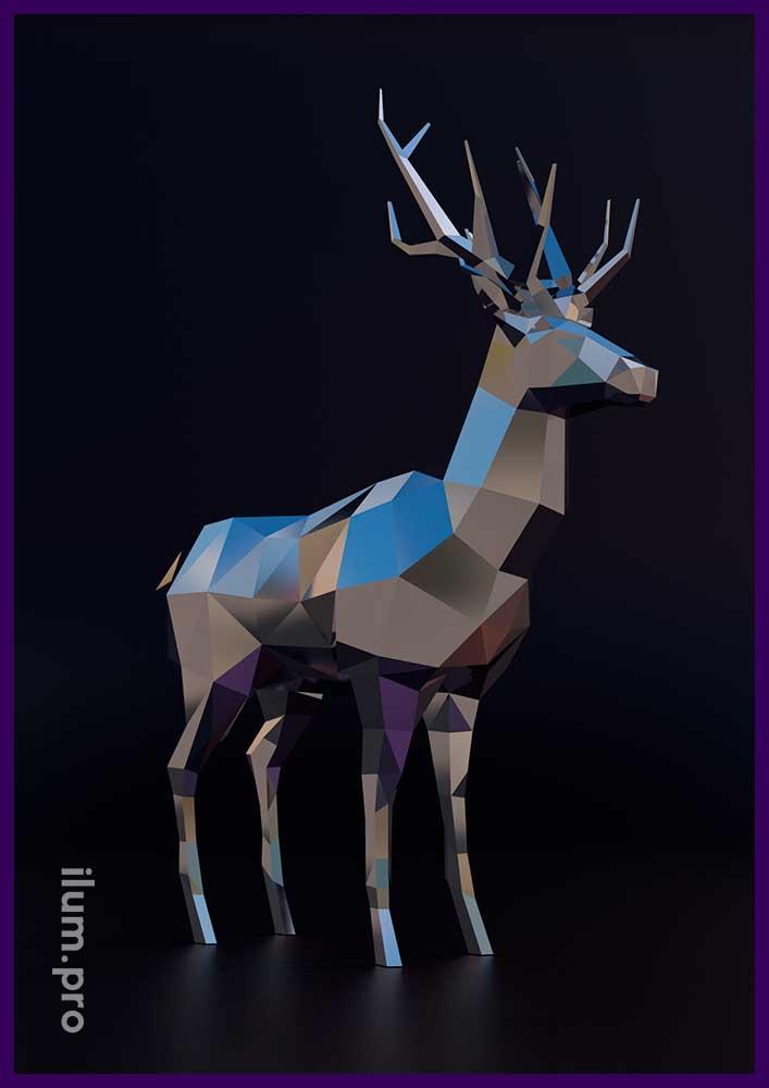 Металлическая скульптура оленя в полигональном стиле