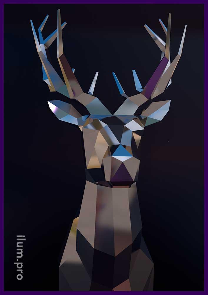 Нержавеющая полигональная скульптура оленя