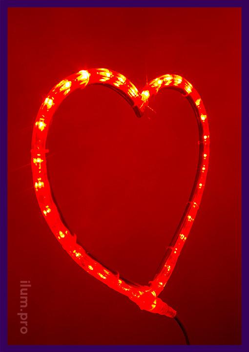 Сердце из матового дюралайта в стиле неоновой вывески