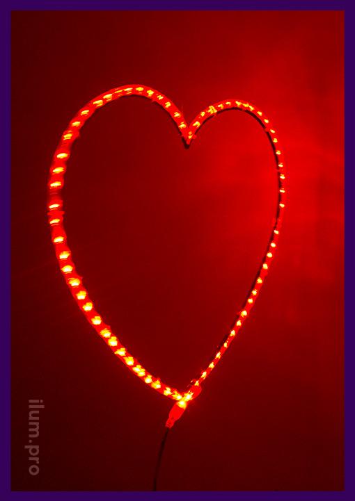 Сердце красное светодиодное - подвесная декоративная фигура