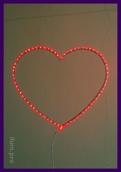 Сердце красное светодиодное на каркасе из Алюминия