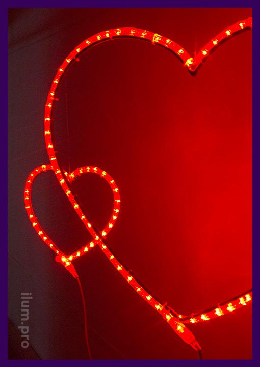 Сердце металлическое светодиодное для украшения улицы